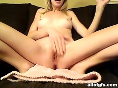 Sweet blonde ex gf shows her hot slim body