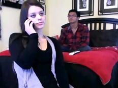 Legal Age Teenager show on web camera in front of her boyfriend
